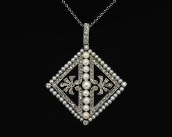 100 Year Old Antique Diamond Necklace Pearl Edwardian Platinum Pendant Seed Pearls Open Filigree Fleur Di Lis Rose Cut Diamonds