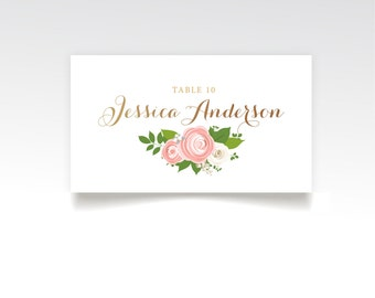 The JENNY . Escort Tent Cards Printed Heavy Paper . Rose Gold Copper Calligraphy Pink Peony Rose Ranunculus . Name Cards Seating Place Card