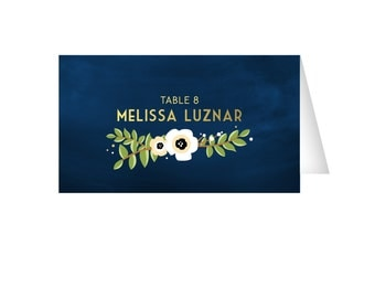 The ALYSSA . Escort Tent Cards . Gold & Navy Chalkboard Anemone Magnolia garland . Name Cards Seating Wedding Place Card . PRINTED