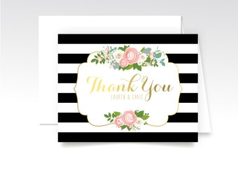KELLY. Thank You Custom Cards & Envelopes. Black Stripes Gold Rose Pink Blush Peony Dusty Miller. Printed Heavy Weight Folded Cards. Modern