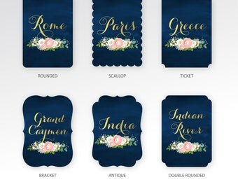 The JENNY . Table Name Custom Wedding Die Cut Cards . Gold & Navy Ranunculus Rose Pink Peony Dusty Miller . Choose Any Shape 5 x 7 Printed