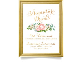 The JENNY . Signature Drinks Wedding Cocktail Sign . PRINT or PDF . Custom Alcohol Bar . Rose Gold Calligraphy Blush Rose Peony Dusty Miller