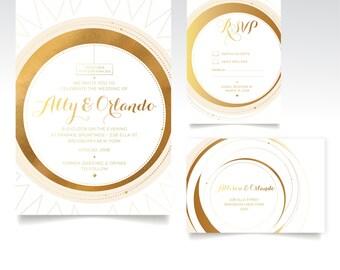 The PEARL. Invitation Set. Wedding Details Card RSVP Postcard. Gold Foil Copper Wedding. Vintage Geometric Art Deco 1920. Celestial Sun Card