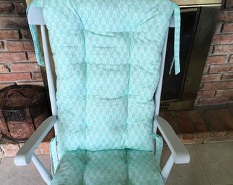 Folksy Daisy Organic Rocking Chair Pads, Wooden Rocker Cushions, Glider Replacement Cover, Organic Nursery