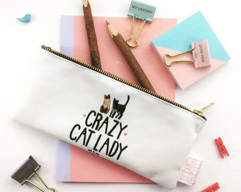 Cat Lover Gift, Crazy Cat Lady, Pencil Case, Make Up Bag, Typography, Cats, Student Gift, Gift For Sister, Cosmetic Bag, Pouch, Toiletries,
