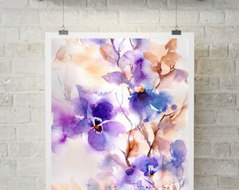 Abstract Floral Watercolor Print, Purple Watercolor Painting, Abstract Home Decor, Wall Art