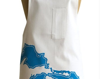 Great Lakes Chef's Apron.  Midwest Map Print Cotton Twill Blue Printed Apron