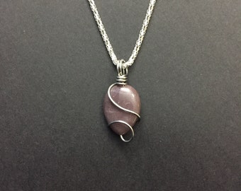 Wire Wrapped Purple Tear Drop Stone Necklace