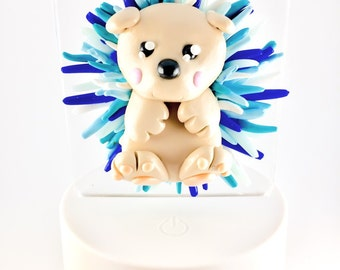 LED Night light on base, hedgehog, plug in or battery, usb cable included, blue hedgehog Fimo, bedroom decoration