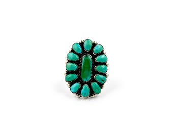 Classic Zuni Green Turquoise Cluster Ring