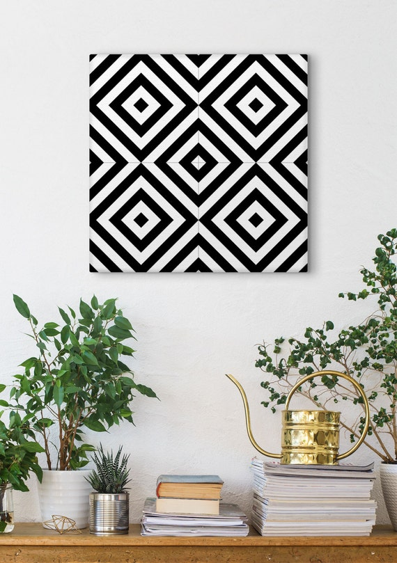 Minimalist Wall Art, Black And White, Geometric Print, Ceramic Tile Art, Canvas Panels, Graphic Print, Wall Tiles