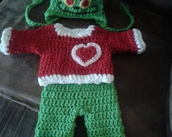 Crochet baby Grinch. Inspired by Grinch costume. How the Grinch stole christmas cosplay. baby costume. baby christmas. santa suit. Dr Seuss