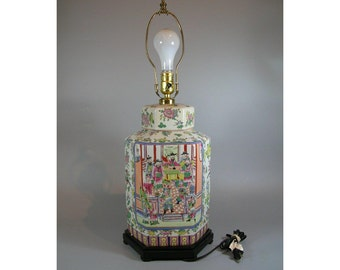 Vintage Chinese Rose-Medallion Hexagonal Porcelain Vase Mounted as a Table Lamp
