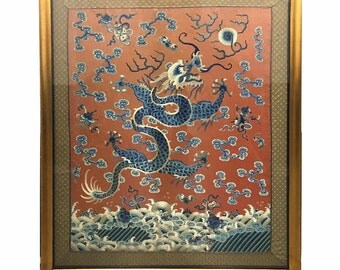 Qing Dynasty Imperial Silk Embroidery 'Dragon-Chasing-Flaming-Pearl' Tapestry