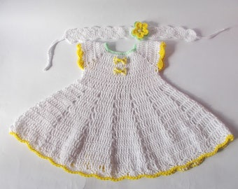 White Crochet Baby Dress Newborn dresses white yellow baby dress baby headband dresses set Baby dress White green yellow dress Baby shower