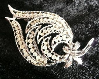Coro Silver and Sparkling Clear Rhinestone Leaf Brooch