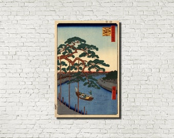 Japanese print, Andō Hiroshige, Japanese Art, Old Masters Fine Art Print : Five Pines, Classical Art Iconic Landscape