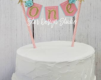 """Dream Catcher Cake topper """"One"""" Boho Cake Topper Birthday bunting - Pink, light Blue and Gold Any age and name available"""