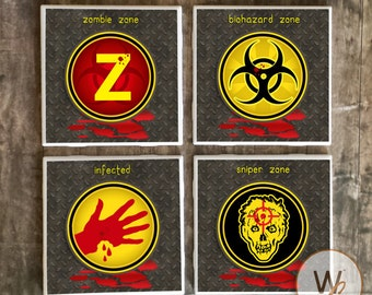 ON SALE Zombie Drink Coasters, Set of 4,  Walking Dead, Zombie Apocalypse Essential Signs Ceramic Tiles, Survival, Gag Gift, Zombie Fan