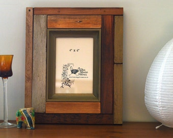 "Reclaimed wood photo frame: 'Majoram' (4""x 6"")"