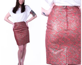 Red leather skirt | Etsy