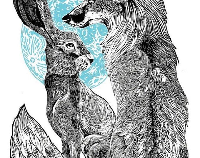 Fox & Hare Illustration Linocut Giclee Print, Rabbit, Foxes, Moon - A3 - 30x42cm