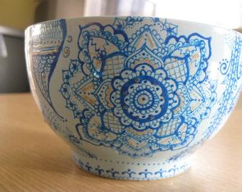hand painted mandala turquoise bowl