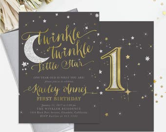 Twinkle Twinkle Little Star Birthday Invitation: 1st, 2nd Any Age! Boy Or Girl. Dark Grey, Gold & Silver Shimmer - First Party Invite