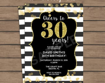 Cheers to 30 Years Birthday Party Invitation - 30th Birthday - Thirty Birthday- Dirty Thirty - Black and White - Gold Glitter - Printable