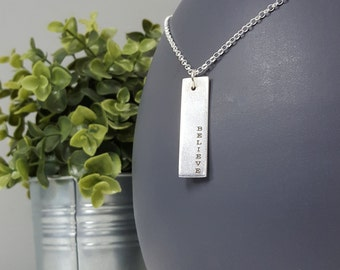 Believe - Modern Handmade Sterling Silver Dog Tag Necklace