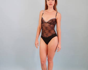 Sheer Black Floral Lace/Mesh Bodysuit with White Trim
