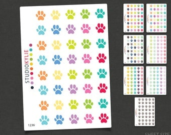 Paw Print Icons - Planner Stickers - Repositionable Matte Vinyl to suit all planners