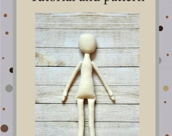 "PDF, Cloth Doll Pattern 17"" ,PDF Sewing Tutorial,Soft Doll Pattern"