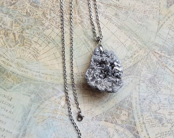 Silver Geode Necklace, Statement Necklace, Womens Jewelry, Unique Jewelry, Silver Druzy Necklace, Long Layered Necklace