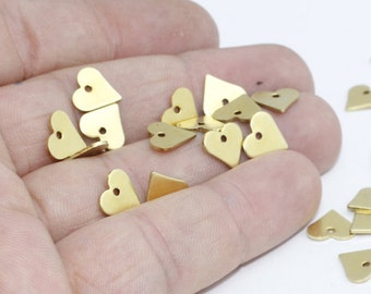 100 Pcs Raw Brass Heart Charms, 9x10mm , Heart, Heart Coins, Stamp , Personalized , RD, FNL84