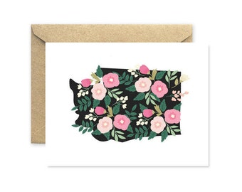 Washington Floral - Greeting Card