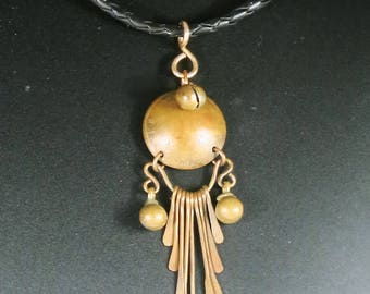 Tribal Ancestor Copper Dangle Pendant - Handmade Copper Penny Pendant - Copper Penny Dangle Bell Pendant - Tribal Dangle Pendant