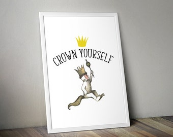 Where the Wild Things Are Crown Yourself Printable, First Birthday, Wild One, 1