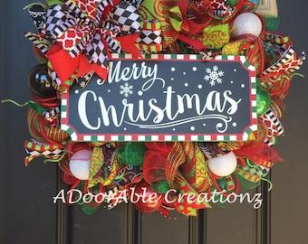 Christmas Deco Mesh Wreath, Red, Green Christmas Wreath, Merry Christmas Wreath,