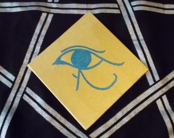 Painting - Eye of Heru/Horus - 4x4in - gold and blue - altar tile - devotional art