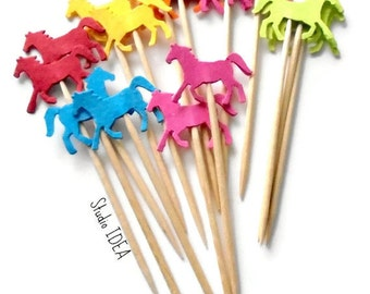 Running Horse Toppers, Multi Bright Color Double sided Horse Cupcake Toppers, Bright Color Horse Food Picks-or Choose Your Colors