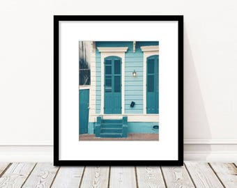 New Orleans Photography, House, Doors, Shutters, Architecture, French Quarter, NOLA, Wall Art, Teal Blue, White, Wall Art