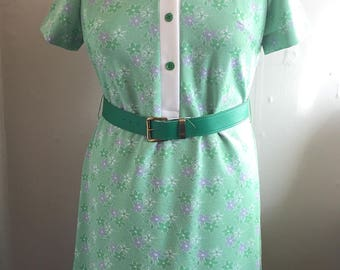 Vintage Mod Shift Dress | Groovy Green and Purple Floral 60s Dress | XL