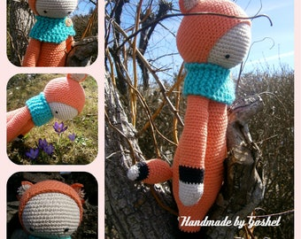 Crochet toy, amigurumi, lalylala fox Fibi, crochet fox, crochet doll