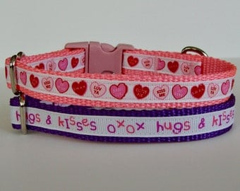 XS Dog Valentine's Day Dog Collar - Pink Conversation Candy Hearts, Purple Hugs & Kisses- Ready to Ship!
