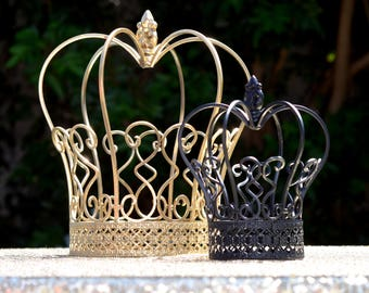 CROWN CENTERPIECE Set. DISNEY Wedding. Metal Crown Birthday Party. Gatsby Party Decor. Princess Birthday Party.  Fairytale Wedding.