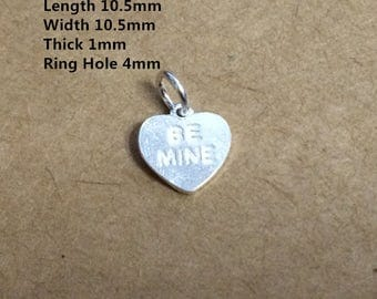 5 Sterling Silver Be Mine Charms, Love Heart Charms, 925 Silver Heart Charm, Lovers Charms - HY960
