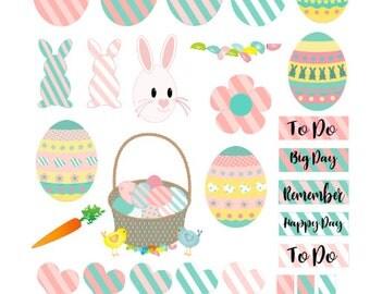 Easter Planner Stickers 35 piece set , Journals , Calendar , reminder , Rainbow , Flags , Labels , Kids , Teens , Adults