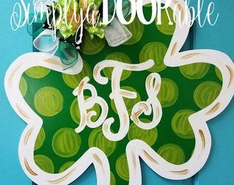 Shamrock Wood Door Hanger by Simply aDOORable!  Shamrock Door Decor, St. Patrick's Day Door Decor, St. Patrick's Day Wreath, Shamrock Decor