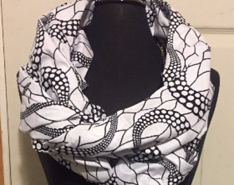 Black and white Infinity Scarf - black and white - white and black scarf - circle scarf- black scarf